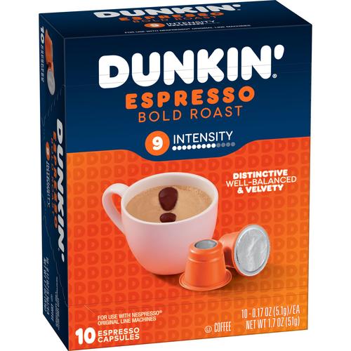 Dunkin' Espresso Bold Roast Coffee Espresso Capsules