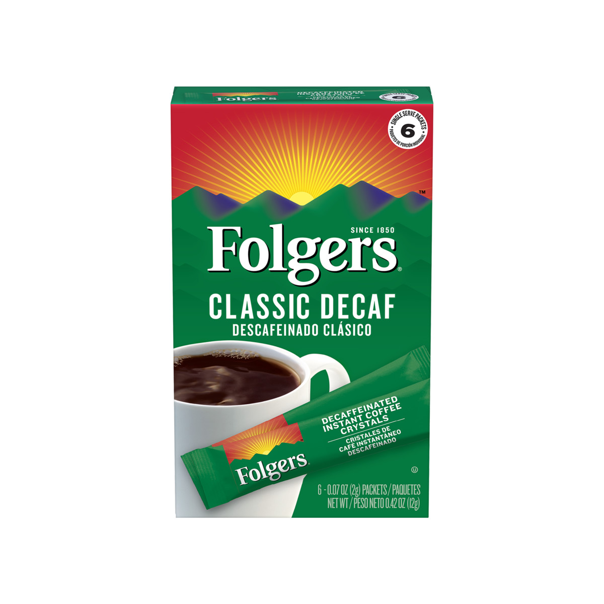 Classic Decaf Instant Coffee Crystals Packets